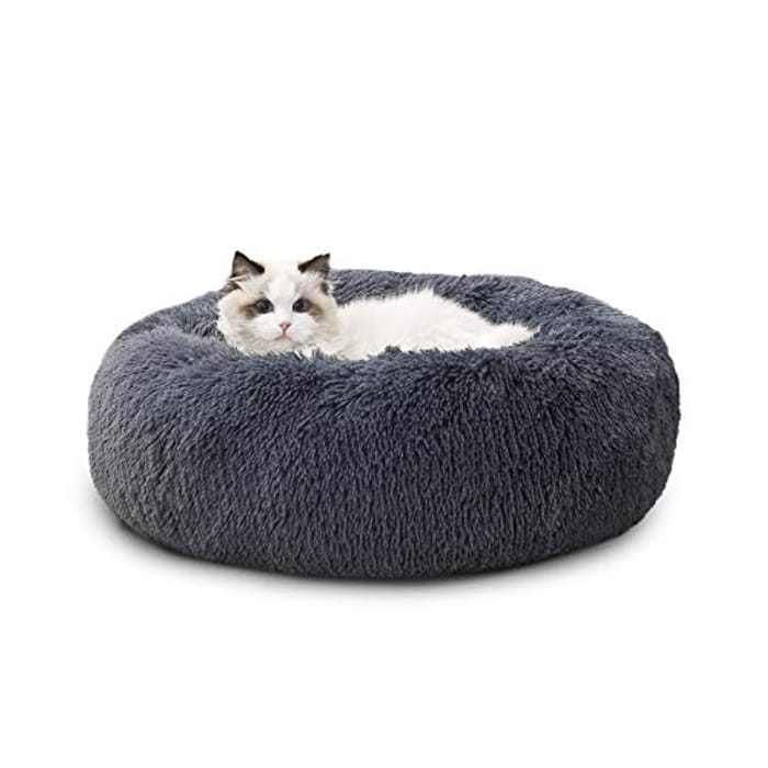 Bedsure Donut Cat Bed Small - Calming Fluffy Round Cuddler Washable Kitten Puppy Dog Cat Bed Nest, Grey, 50×50×16cm