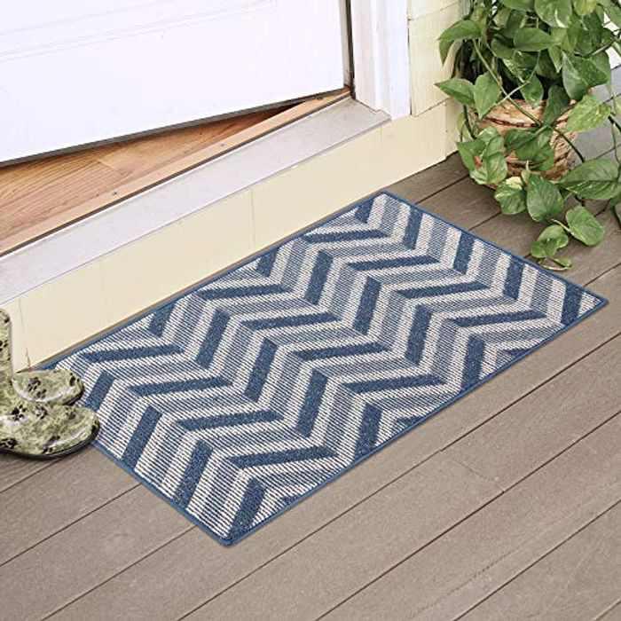 Timeet Indoor Doormat Entrance Door Rug Carpet Resist Dirt Front Back Door Mat Entryway Rugs with Rubber Backing Non Slip, Low Profile Inside Floor Mats (60x90cm, Space Navy) …