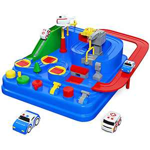 UNIH Race Track Playsets, Car Adventure Toys with 2 Mini Cars City Rescue Games Educational Gift for 3 4 5 6 7 8 Year Old Boys Girls