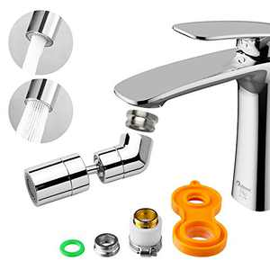 Eyewash Station Faucet Aerator with 2 Adapters, Kitchen Faucet Aerator 720° Swiveling Bathroom Faucet Aerator Dual Function Anti-Drip for Gargle Eye Wash, 55/64 Inch-27UNS Female Thread