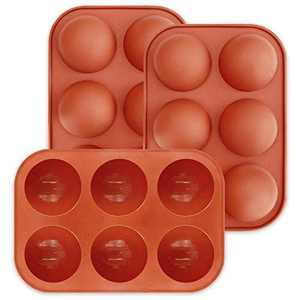 6 Holes Silicone Mold For Chocolate,Half Sphere Silicone Molds For Baking, BPA Free Cupcake Baking ,Silicone Molds for Making Chocolate, Cake, Jelly, Dome Mousse 3 Pcs