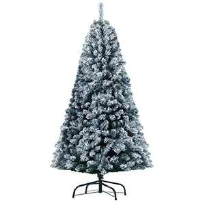 KINGSO 6ft Christmas Tree Snow Flocking White Artificial Tree with 1300 Branch Tips Metal Foldable Stand for Home Office Party Decoration