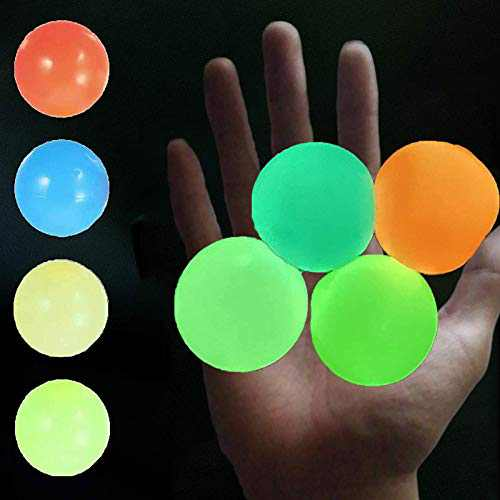Glow In The Dark Ceiling Sticky Balls 4PCS Glow Balls That Stick To Ceiling Balls Sticky Wall Balls For Kids Adult Luminescent Stress Relief Balls Squishy Ball Fidget Stick Sensory Toys Fun Gifts