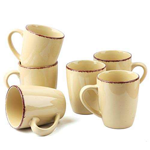 FE Coffee Mug, 12oz Porcelain Coffee Mugs Set of 6, Tea Cup with Handle for Coffee, Tea and Cocoa, Ceramic Mugs Gifts for Men Women (Yellow)
