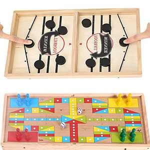 INNOLV Foosball Winner Board Game,Fast Sling Puck Game, Wooden Ice Hockey Game,Table Desktop Battle 2 in 1 with Ludo Super Winner Game Paced Slingshot for Kids&Adults Toy Interactive Family