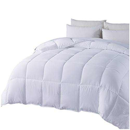 DOMDEC Quilted Comforter, Cozy Soft Washed Microfiber Duvet Insert, Down Alternative Fill, Machine Washable (White-All Season, Twin)