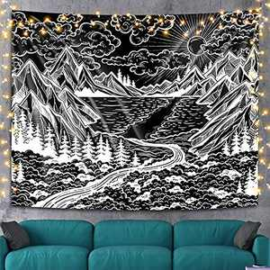 Black and White Mountain Tapestry Wall Hanging, Black Forest Tree Landscape Wall Tapestries Psychedelic Tapestry for Bedroom Aesthetic College Dorm Home Decor, 59 x 78.7 inches