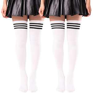 2 Pairs Thigh High Socks for Women Striped Knit Over the Knee High Stockings Long Tube Leg Warmers White