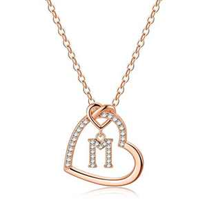 Rose Gold Initial Necklaces for Girls, CZ Heart Pendant Initial M Necklaces for Teen Girls Women, Dainty Letter Necklace for Women Girls Jewelry Cute Heart Necklace Kids Jewelry for Girls Gifts