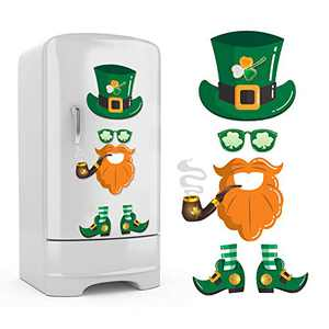 6Pcs St. Patrick's Day Refrigerator Sticker Removable Decorations, Leprechaun Fridge Sticker Irish Party Shamrock Cute Funny Holiday Decor Suitable for Fridge Door Cabinet Wall Window Garage