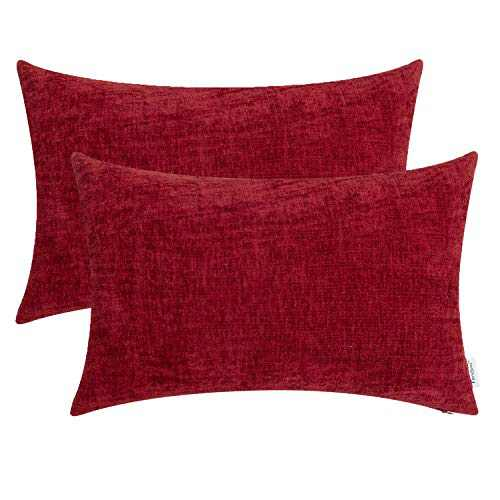 TEAGAN Throw Pillow Covers Soft Cozy Chenille Decorative Pillows Cases Cushion Covers for Home Bedroom Living Room Couch Bed Sofa, 12x20 Inch Deep Red Pack of 2