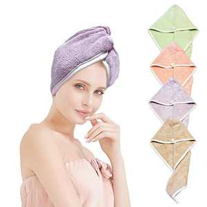 XZP Thicker Rapid Dry Hair Towel Caps for Women Long Thick Hair Fast Drying Hair Towels Quickly Dries in Three Minutes Made of 550 GSM Plush Micorfiber (Hair Quick Drying Towels)