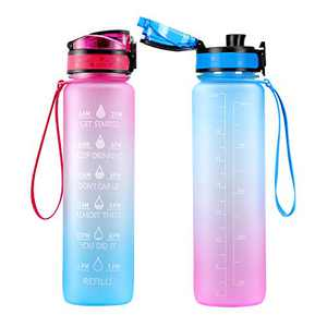 Motivational Water Bottle with Time Marker & Removable Strainer Flip Top Leakproof BPA Free Non-Toxic Sports Water Bottle for Fitness, Gym Outdoor Office Men Women - 2 Pack