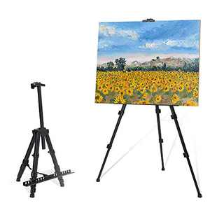 """STARHOO 56'' Easel for Painting Canvases - Aluminum Art Easel Stand for Table Top/Floor 17"""" to 56"""" Adjustable Height with Portable Bag Black"""