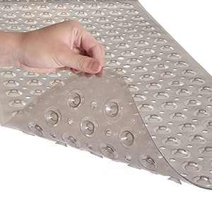 Starhoo Bathtub Mat Non Slip 40 x 16 Inch Extra Long Shower Mat with Hundreds Suction Cups Machine Washable Grey