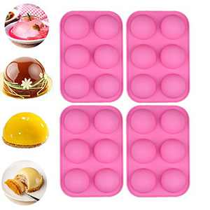 4PCS 6 Holes Round Silicone Mould for Baking Chocolate Bomb, Dome Mousse, Jelly, Pudding