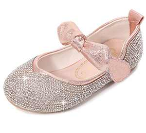 Girls Dress Shoe Party Sparkle Flat Princess Shoes (Toddler/Little Kid) 2 M US Little Kid