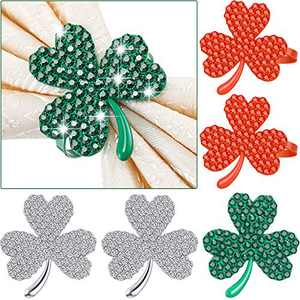 Clover Shamrock Napkin Ring St. Patrick's Day Napkin Rings Holder Buckle Napkin Holders Ring Metal Rhinestone Napkin Ring for St. Patrick's Day Wedding Party Table Decor (Mix Color, 6)