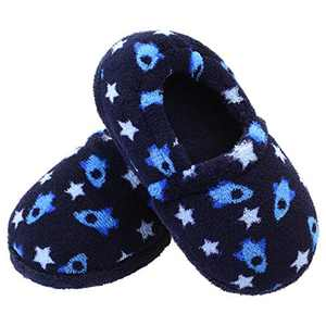 Vonair Slippers for Little Boys Space Ships Sole Memory Foam Warm House Slippers slippers for kids boys Anti Slip Indoor Outdoor Home Slippers for Boys Navy 9-10