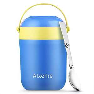 Soup Thermos Food Jar for Hot Food Wide Mouth Insulated Lunch Container with Handle Alxeme 16 ounce Vacuum Stainless Steel Leak Proof Bento Lunch Box with Spoon fot Kids - Ocean Blue