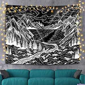 Black and White Tapestry Wall Hanging, Mountain Sun Tree Forest Ocean Wave Nature Landscape Art Tapestries, Cool Black Wall Tapestry for Bedroom College Dorm Living Room Aesthetic Wall Decor, 51 x 59 inches