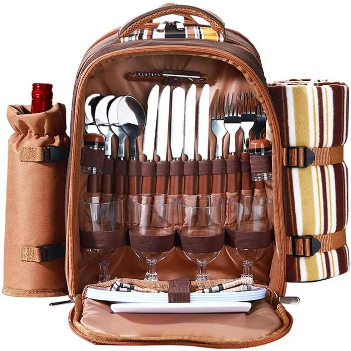 Picnic Backpack for 4 Person, Camping Cooler Storage Bag with Waterproof Fleece Blanket & Cutlery Set, Christmas Thanksgiving Day Gift for Newlyweds Lovers Lady (Brown-4)