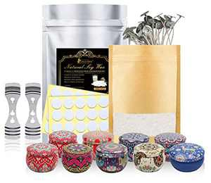 3.5LB Natural Soy Wax, 2LB Bee Wax, 25pcs Candle Wicks, 25pcs Candle Wicks Sticker,2pcs 3-Hole Candle Wicks Holder, 9pcs Candle Tins Candle Making Kit for Beginner