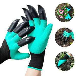 SYLHLW Garden Gloves with Claws, 2 Pairs Waterproof Garden Genie Gloves Breathable Working Gloves for Digging, Planting, Weeding, Seeding, Protect Nails and Fingers, Gardening Gift for Women and Men
