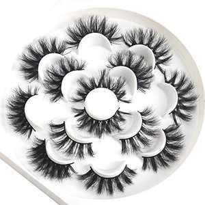 HICOCU 25mm 3D Mink Lashes Full Volume Mink Eyelashes Fluffy Volume Dramatic 25mm Mink Lashes Extension Mink Strip Eyelashes 7 Pairs Mink Lahses (P7mix)