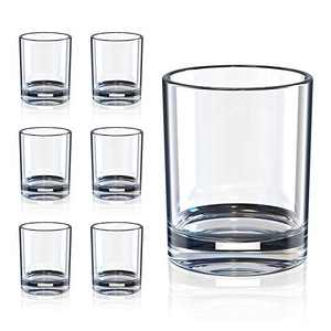 Whiskey Glasses, Bourbon Cocktail Glasses, Old Fashioned Rocks Drinking Glasses for Scotch, Rum, Durable Glassware Cup Sets for Party, Camping (Set of 6)