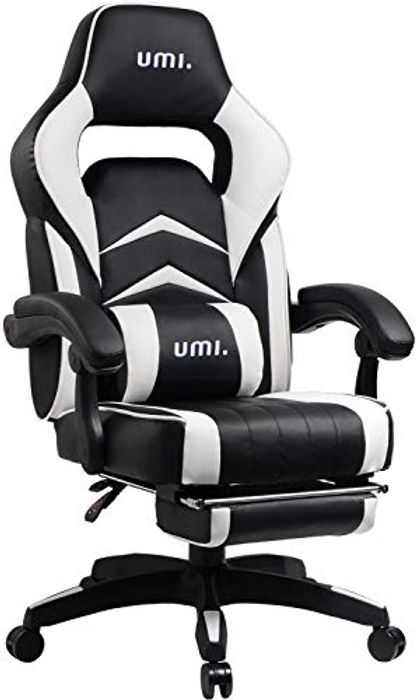 Amazon Brand - Umi Office Gaming Chair Computer Desk Chair with high ergonomic back lumbar support Rocking chair with footrest (White)