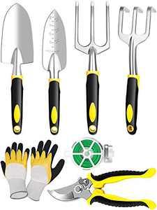 Innocareer Garden Tools, 7 Pieces Gardening Tools Set for Gardening Heavy Duty with Aluminum Alloy Hand Tools/Gardening Gloves/Plant Rope/Pruner/Transplant, Outdoor Hand Tools Set for Women & Parents