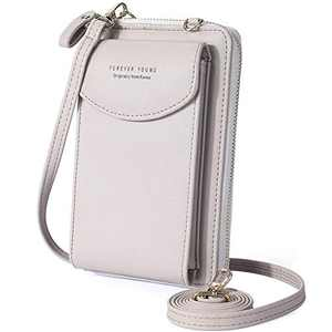 Small Crossbody Phone Bag, WantGor Shoulder Bags Cell Phone Purse Card Holder Wallet with Adjustable Strap for Women (Gray)