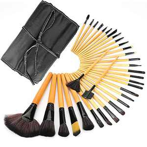 Makeup Brushes, BicycleStore 32 Pieces Professional Foundation Makeup Brush Set with Leather Storage Bag Basic Eye Make Up Pens Kits for Face Making Up - Wood Color