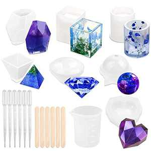Silicone Resin Molds, 20pcs Epoxy Resin Molds Including Sphere, Diamond, Pyramid, Square, Round, Stone, Crystal for Resin Casting, DIY Art Crystal Diamond Plant Pot Pen Candle Soap Holder Molds