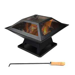 CEVENT Outdoor Fire Pits,Fire Pits Outdoor Wood Burning BBQ Grill Firepit Bowl with Mesh Spark Screen Cover for Picnic Outdoor Camping(Square)