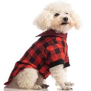 Hollypet Puppy Clothes Dog Cat Check Shirts Pet Polo Clothes T-Shirt for Dogs and Cats Sweater Matching Breathable Pajamas, Red, L