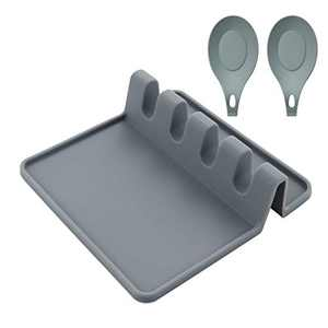 Mealprep Silicone Utensil Rest with Drip Pad Kitchen Spoon Holder for Brushes Spatulas Ladles Forks Grey