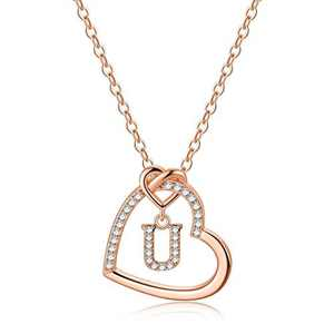 Rose Gold Initial Necklaces for Girls, CZ Heart Pendant Initial U Necklaces for Teen Girls Women, Dainty Letter Necklace for Women Girls Jewelry Cute Heart Necklace Kids Jewelry for Girls Gifts