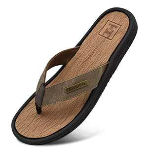 KUAILU Mens Leather Sport Flip Flops Comfort Arch Support Thong Sandals with Soft Insole for Outdoor Beach Khaki Size 11