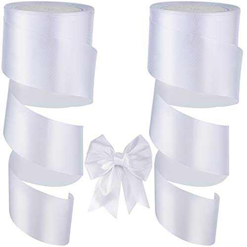 24 Yards Valentine's Day Satin Ribbon, 2 Rolls 2 Inch Double Face Solid Satin Ribbon, White Polyester Satin Ribbon, Wide Satin Ribbon Decorative Wrapping Ribbon for Wedding Wrapping Crafts