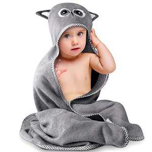 Ultra Soft Bamboo Hooded Baby Towel, Hooded Bath Towels with Owel Ears for Baby Toddler Infant, Large Baby Towels fit 0-5 Years, Super Absorbent, Machine Washable, 35 x 35 in