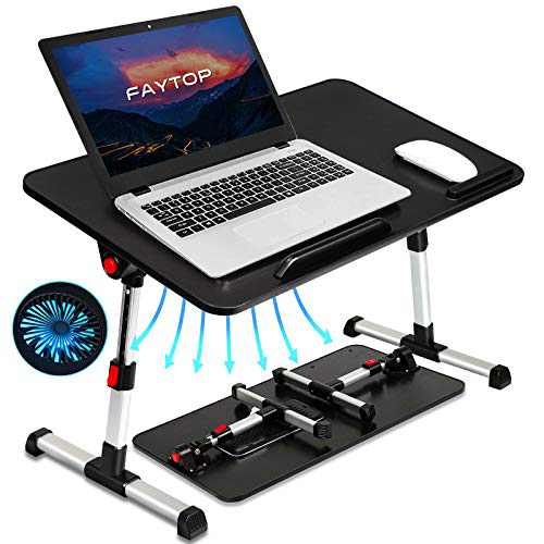 Adjustable Laptop Bed Table, Portable Standing Laptop Desk with USB Fan, Foldable Laptop Table for Working/Reading/Eating on Sofa Floor. (Medium/Black)