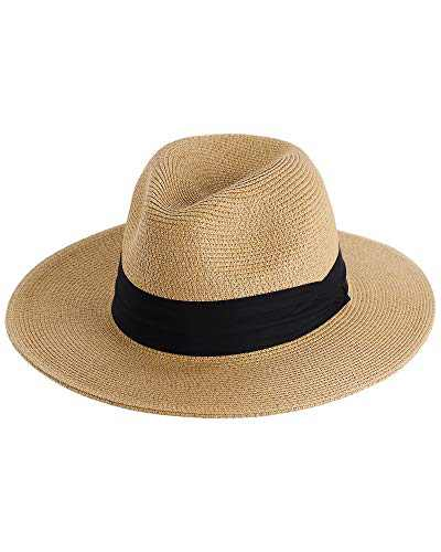 Panama Hat Sun Hats for Women Men Wide Brim Summer Fedora Straw Beach Hat UV UPF 50
