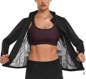 Kumayes Sauna Suit for Women Waist Trainer Weight Loss Workout Jacket Slimming Body Shaper Sweat Tank Tops Long Sleeve Shirt with Zipper (Black, X-Large)