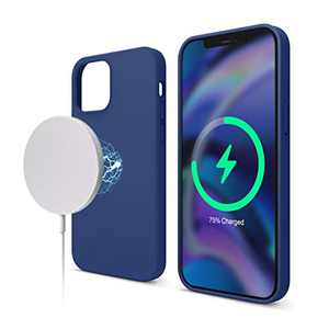 elago Magnetic Silicone Case Compatible with iPhone 12 and Compatible with iPhone 12 Pro 6.1 Inch - Built-in Magnets, Compatible with All MagSafe Accessories (Navy Blue)