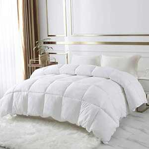DROVAN 100% Cotton Quilted Down Comforter, Feather and Goose Duck Down Filling Duvet Insert, Soft Breathable for All Season, White, Twin