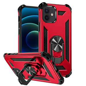 """Mastten Case Compatible with iPhone 12/12 Pro Case 6.1"""" 2020, 2-in-1 Layer Shock-Absorption Protective Case with Magnetic Car Mount Ring Kickstand, Dark Red"""