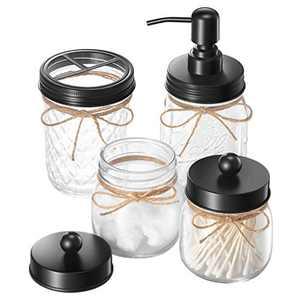 IMAVO Mason Jar 4 Pcs Bathroom Accessories Set - Mason Jar Toothbrush Holders & Soap Dispenser & 2 Qtip Cotton Pad Jars - Bathroom Home Decor Clearance Storage - Black