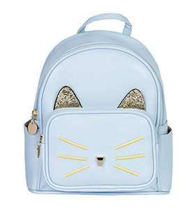 Women Girl Cute Cat Motif Backpack- Cartoon Glitter Cat Ears Handbag Shoulder Bag (blue)